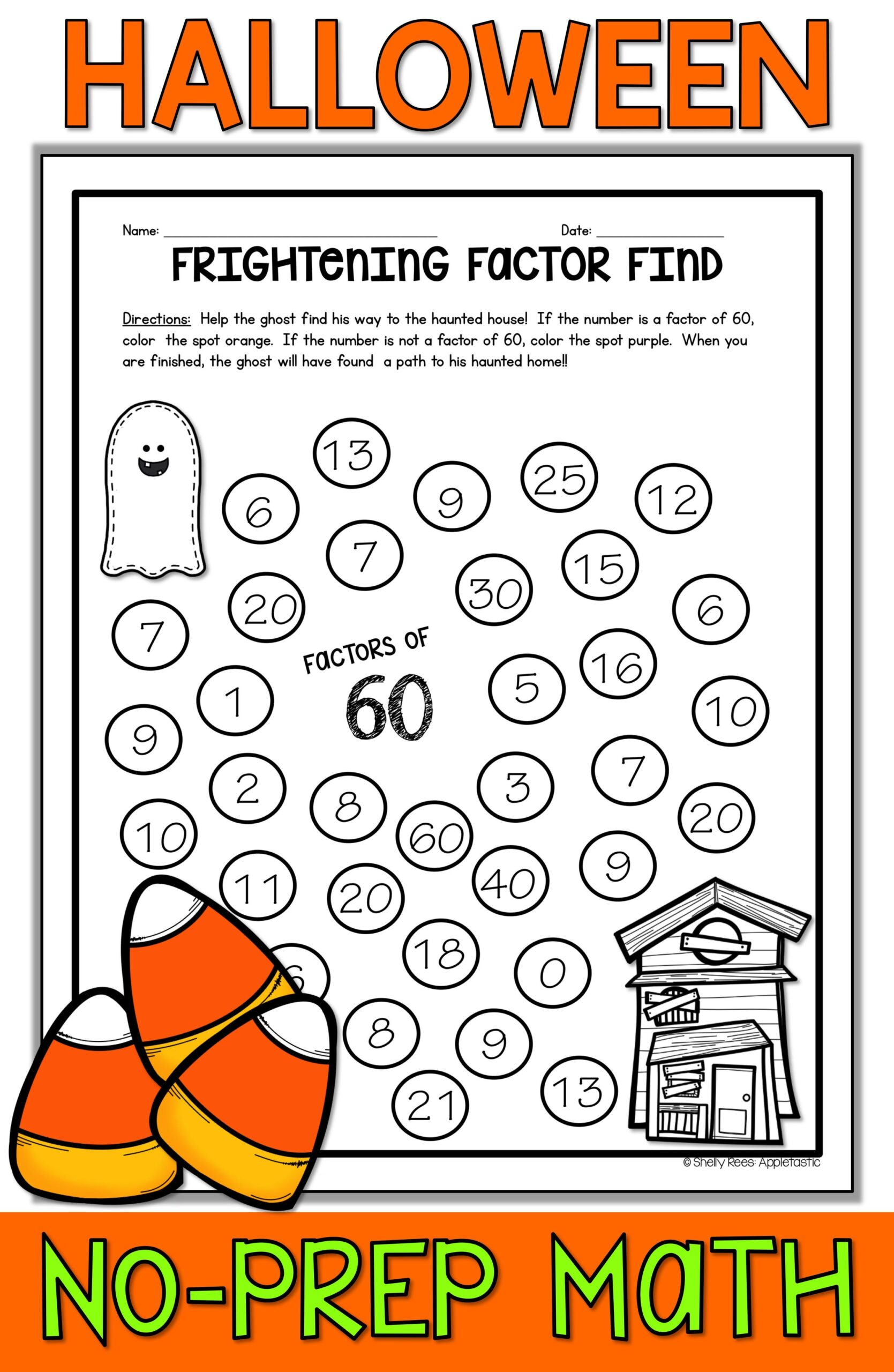 Halloween Math Worksheets Themed 3Rd Grade Division With Two