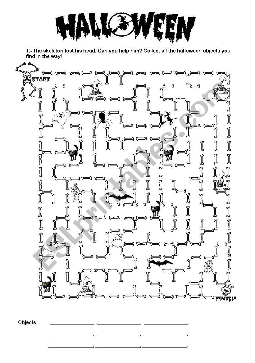 Halloween Maze - Esl Worksheetjuju