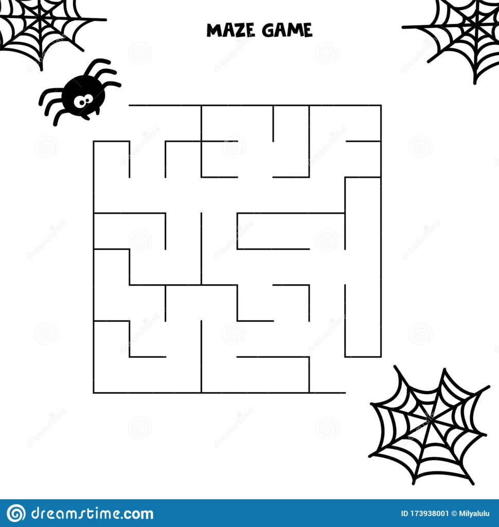 Halloween Maze Game. Spider And His Web. Worksheet For Kids