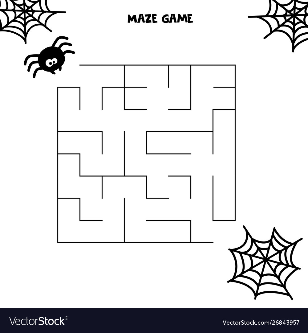 Halloween Maze Game Spider And His Web Worksheet Vector Image