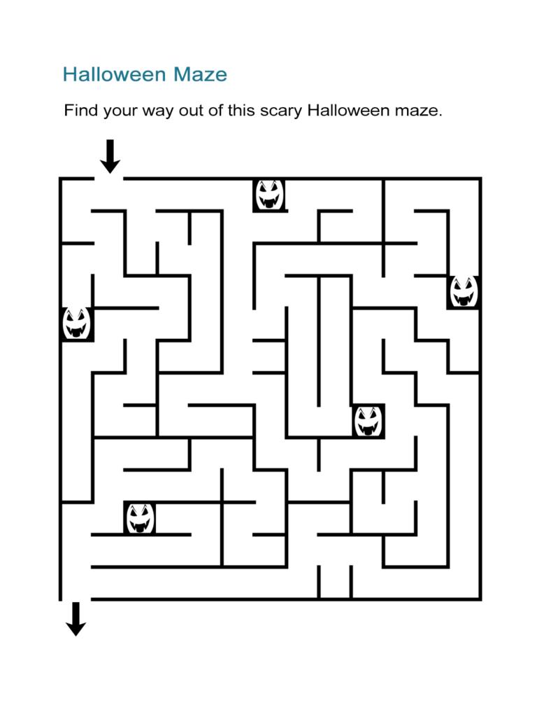 Halloween Maze Printable   All Esl