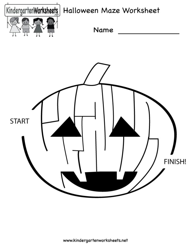 Halloween Maze Worksheet   Free Kindergarten Holiday