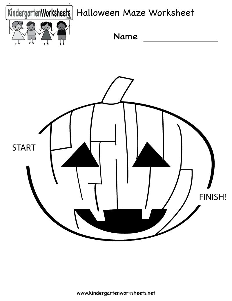Halloween Maze Worksheet - Free Kindergarten Holiday