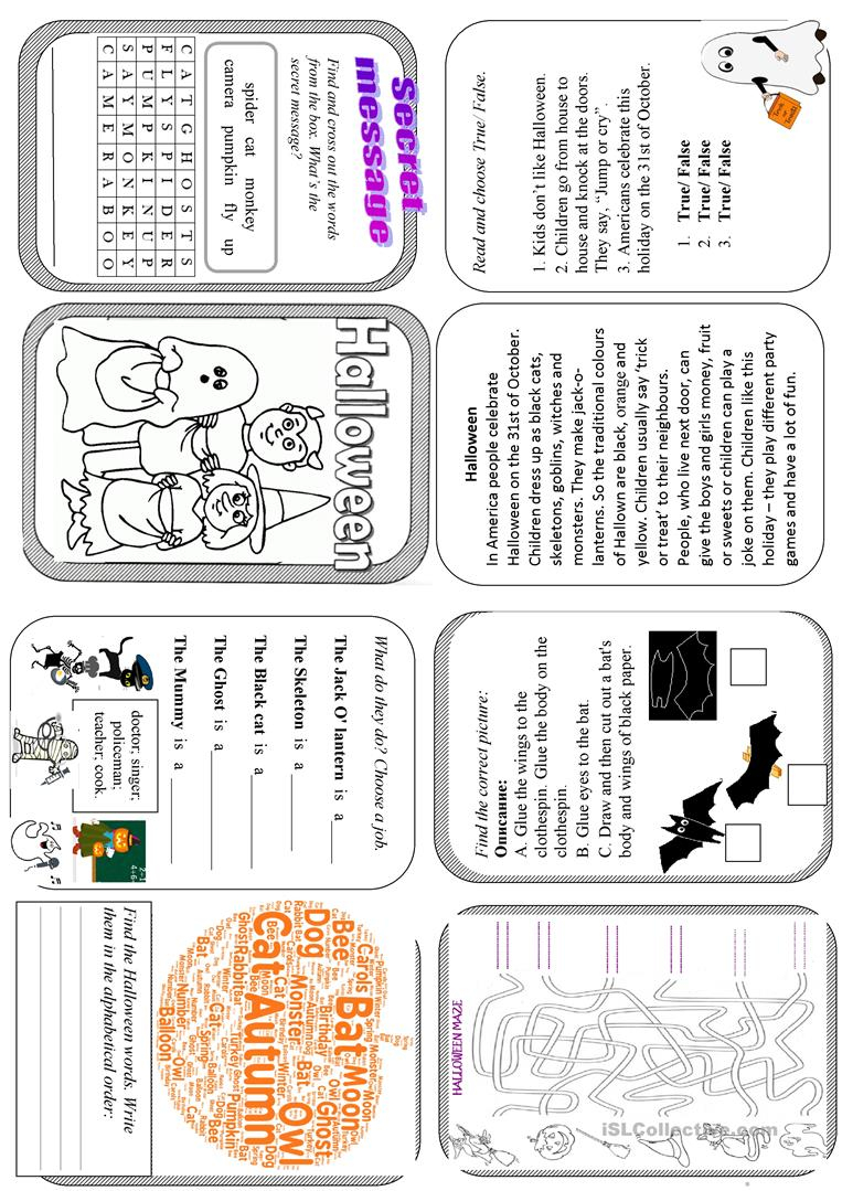Halloween Minibook Fun Activities 2 - English Esl Worksheets