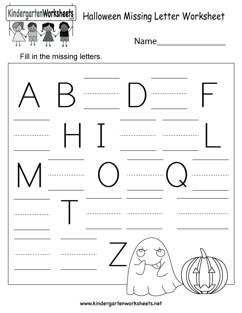 Halloween Missing Letter Worksheet - Free Kindergarten