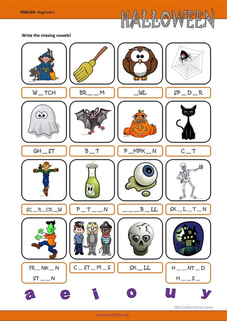 Halloween Missing Vowels   English Esl Worksheets For