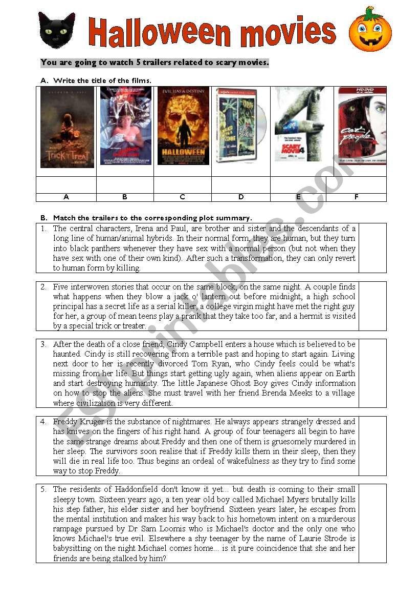 Halloween Movies - Esl Worksheetanapereira