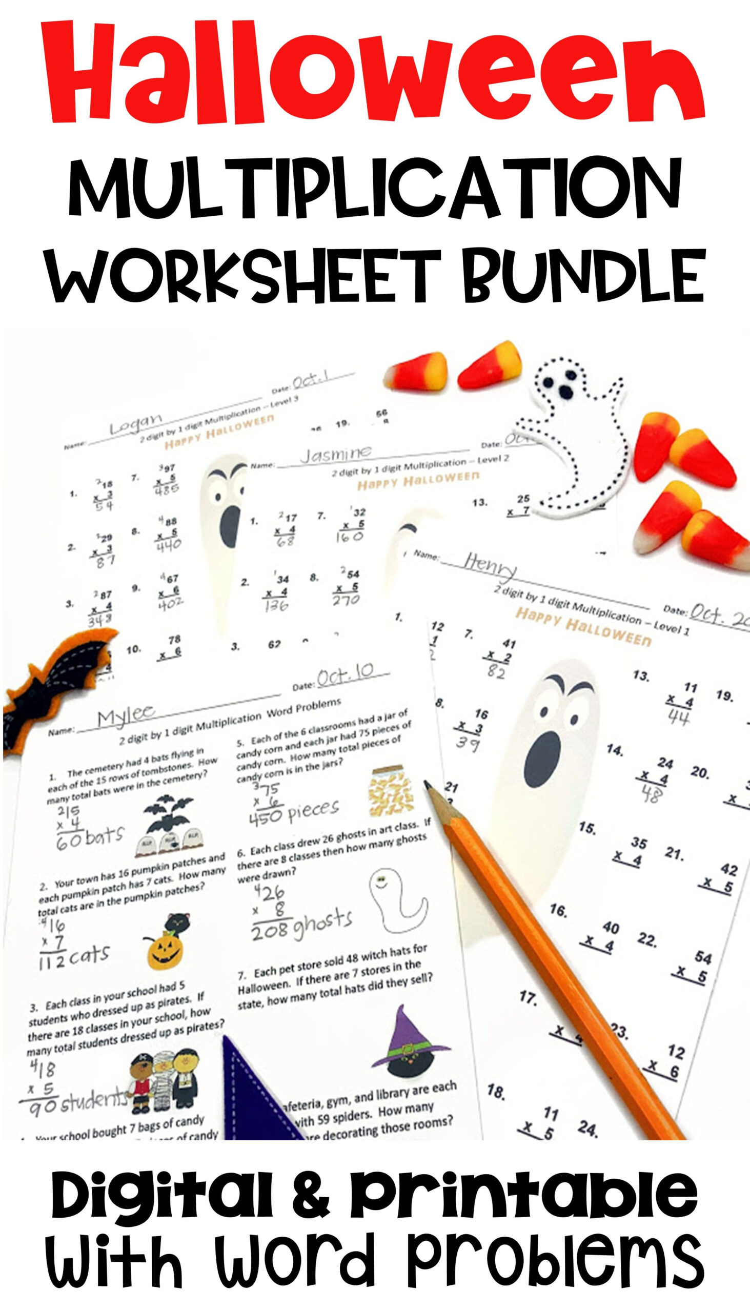 Halloween Multiplication Worksheet Bundle With Digital And