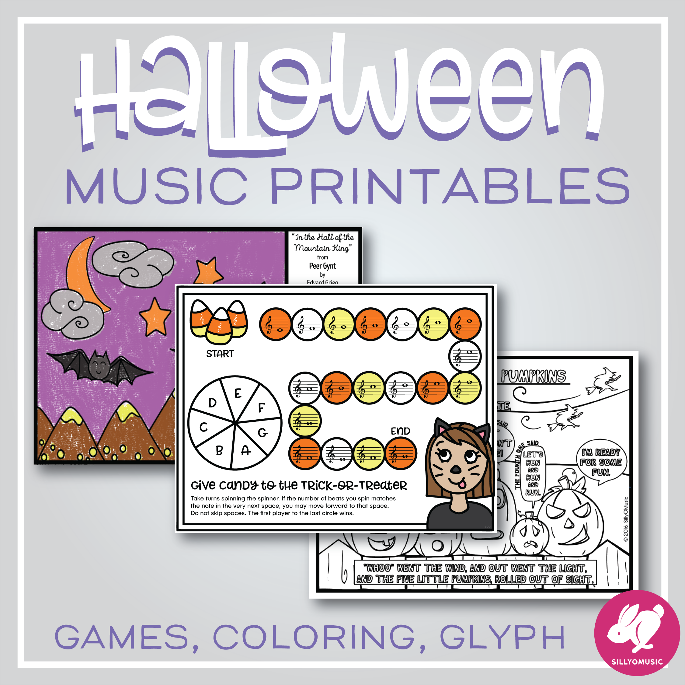 Halloween Music Activities - Worksheets, Color-By-Note