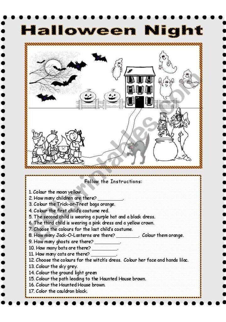 Halloween Night   Follow The Instructions   Esl Worksheet