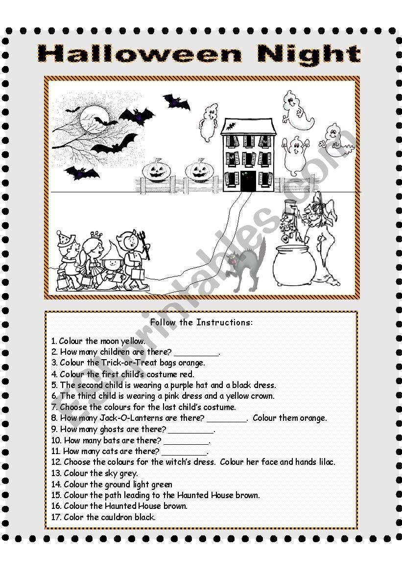 Halloween Night - Follow The Instructions - Esl Worksheet