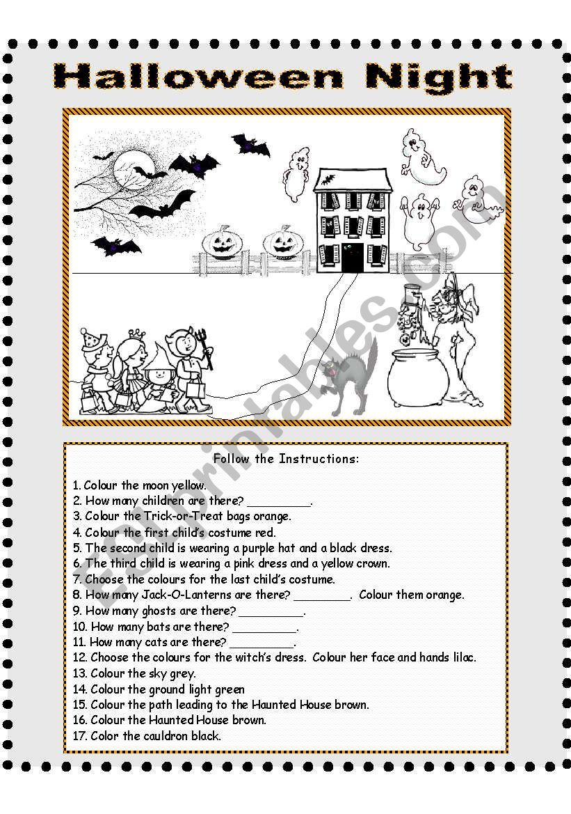 Halloween Night - Follow The Instructions - Esl Worksheet
