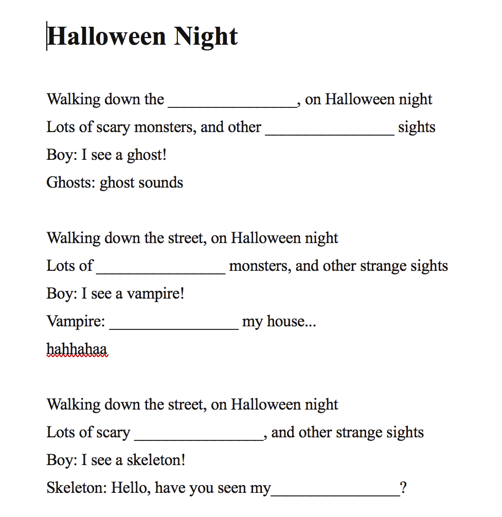 Halloween Night - Kids Song Fill In The Blank