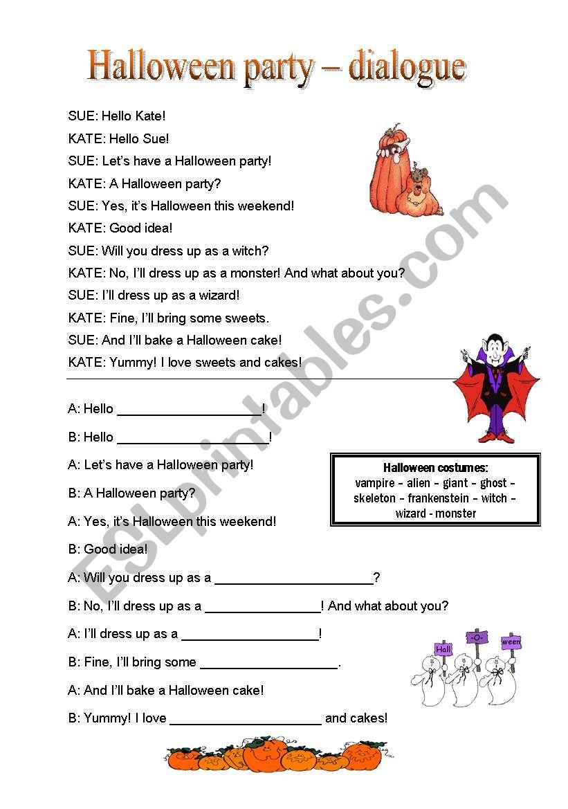 Halloween Party Dialogue - Esl Worksheetnd33