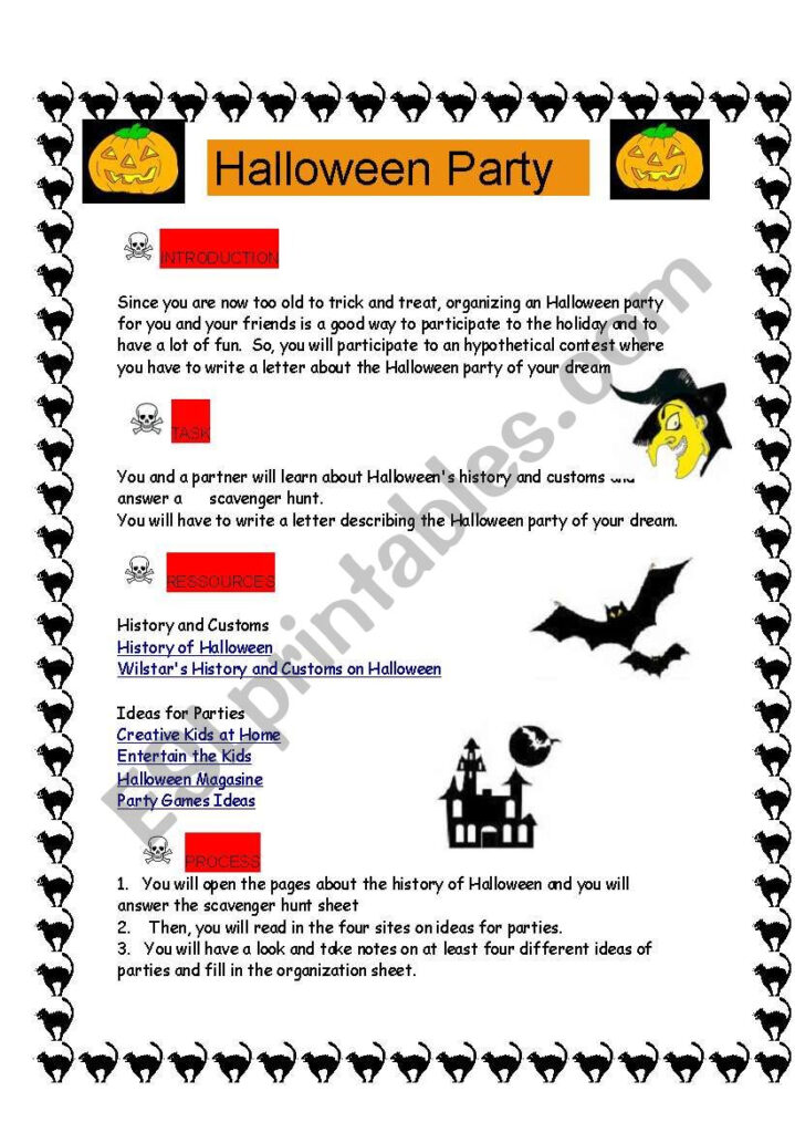 Halloween Party Project And Scavenger Hunt On Halloween