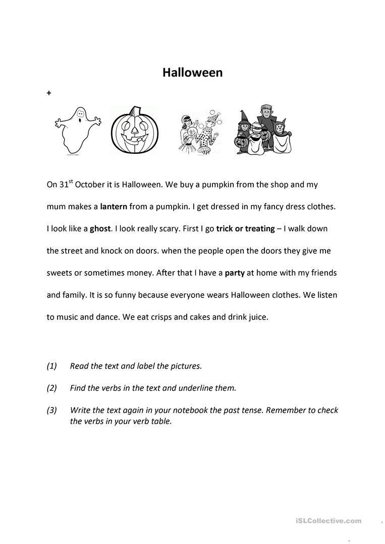 Halloween Past - English Esl Worksheets For Distance
