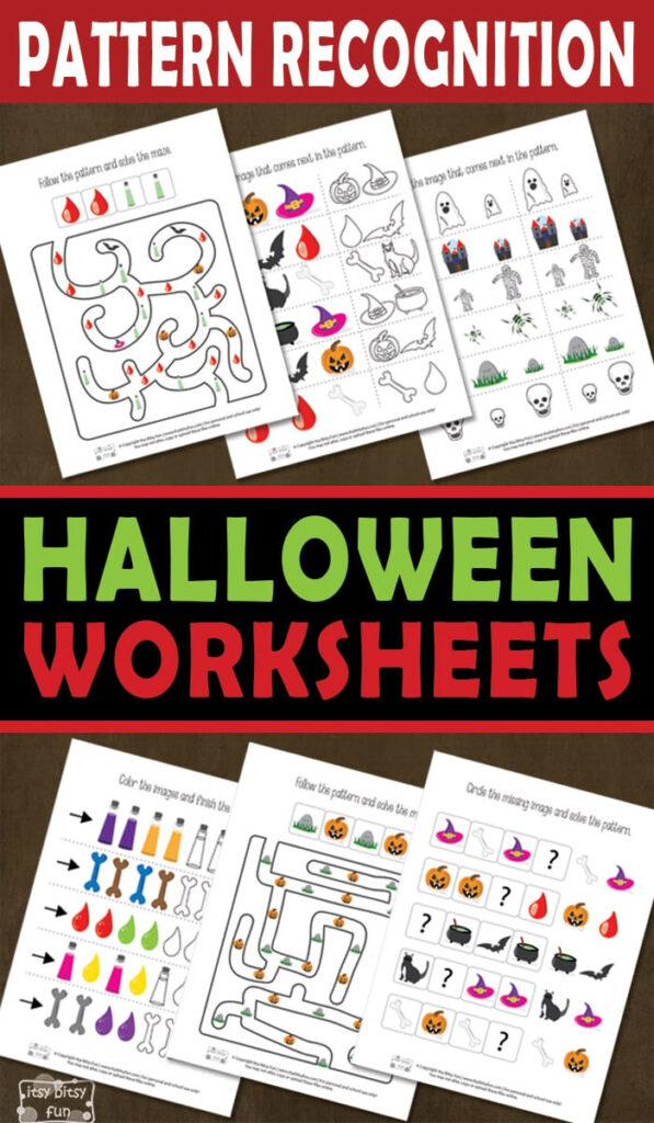 Halloween Pattern Recognition Worksheets   Itsybitsyfun