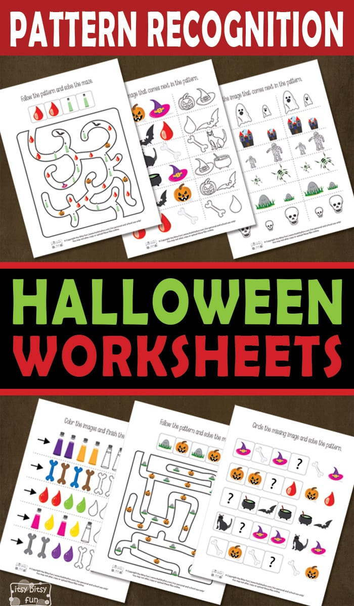 Halloween Pattern Recognition Worksheets - Itsybitsyfun