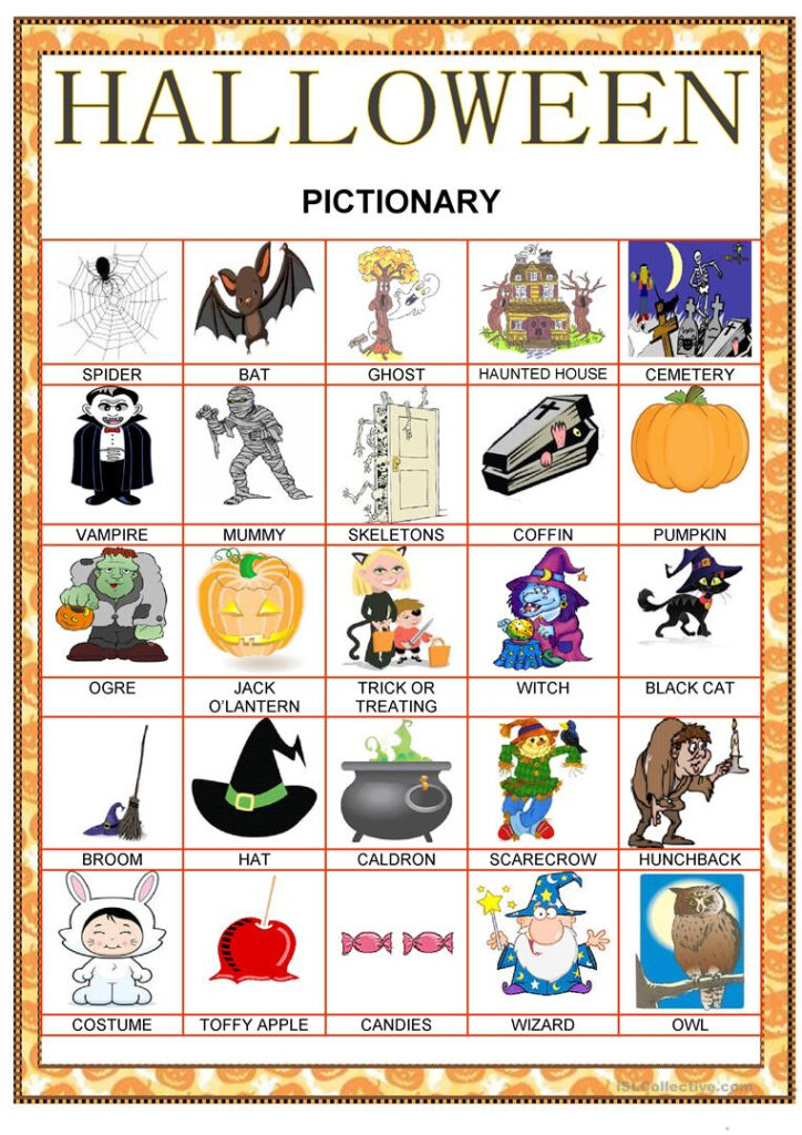 Halloween Pictionary   English Esl Worksheets For Distance