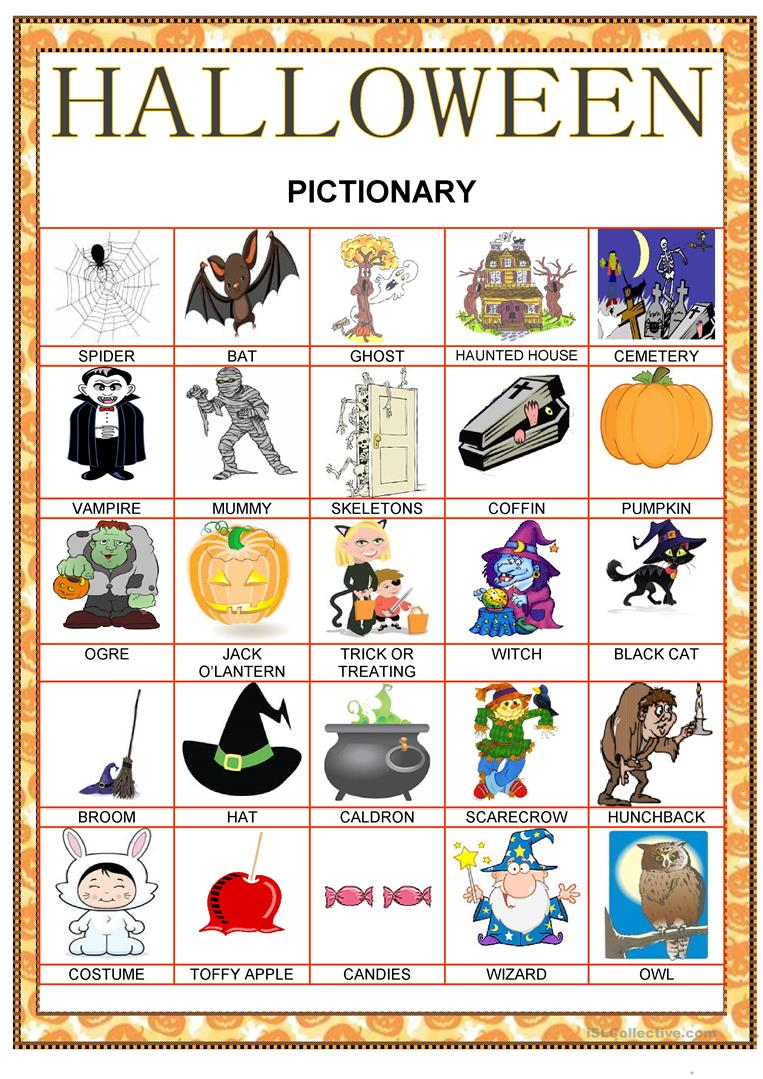 Halloween Pictionary - English Esl Worksheets For Distance