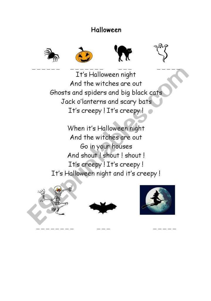 Halloween Poem   Esl Worksheetmissdurot