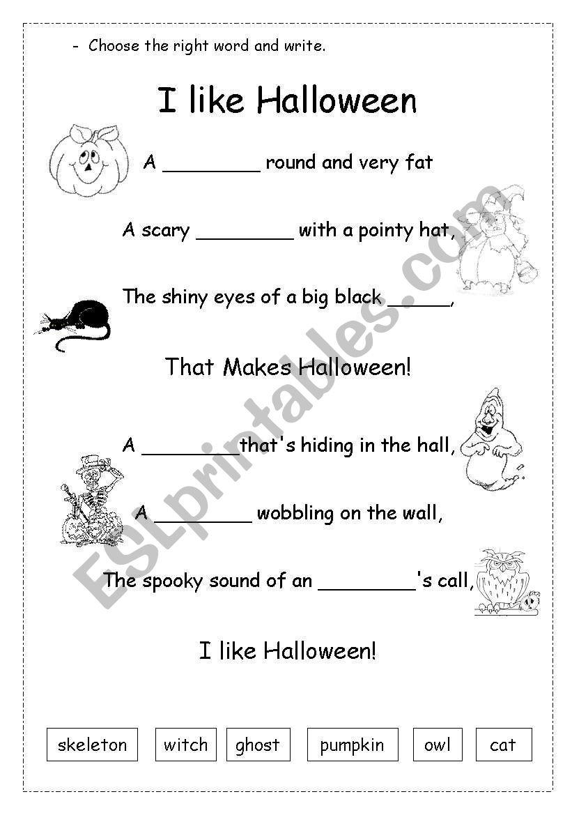 Halloween Poem - Esl Worksheettippinella
