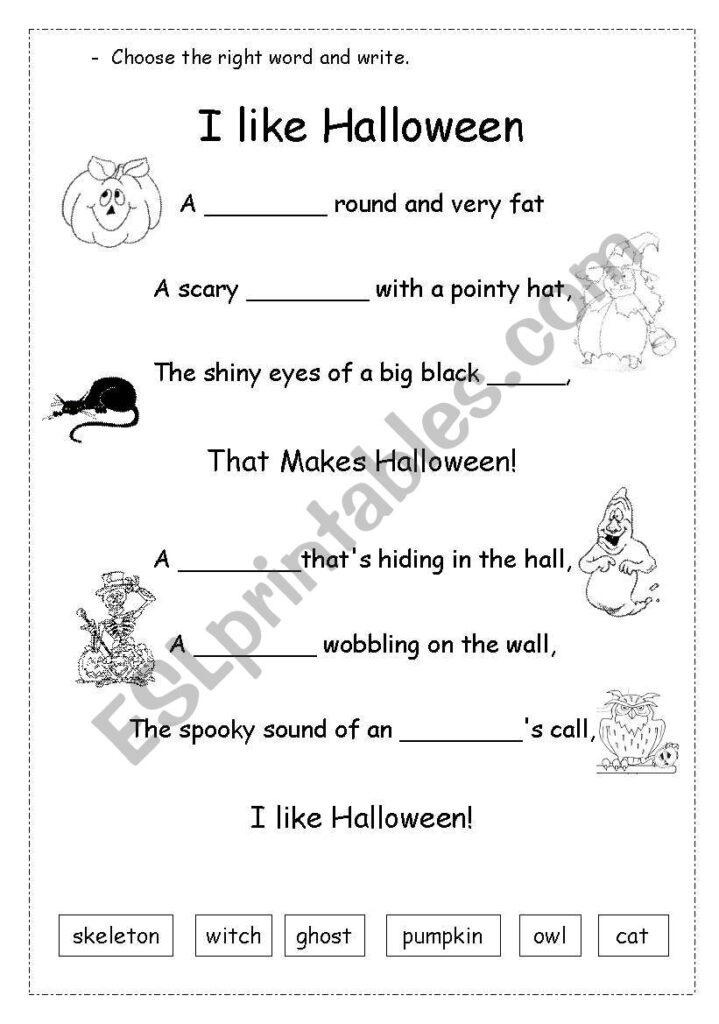 Halloween Poem   Esl Worksheettippinella