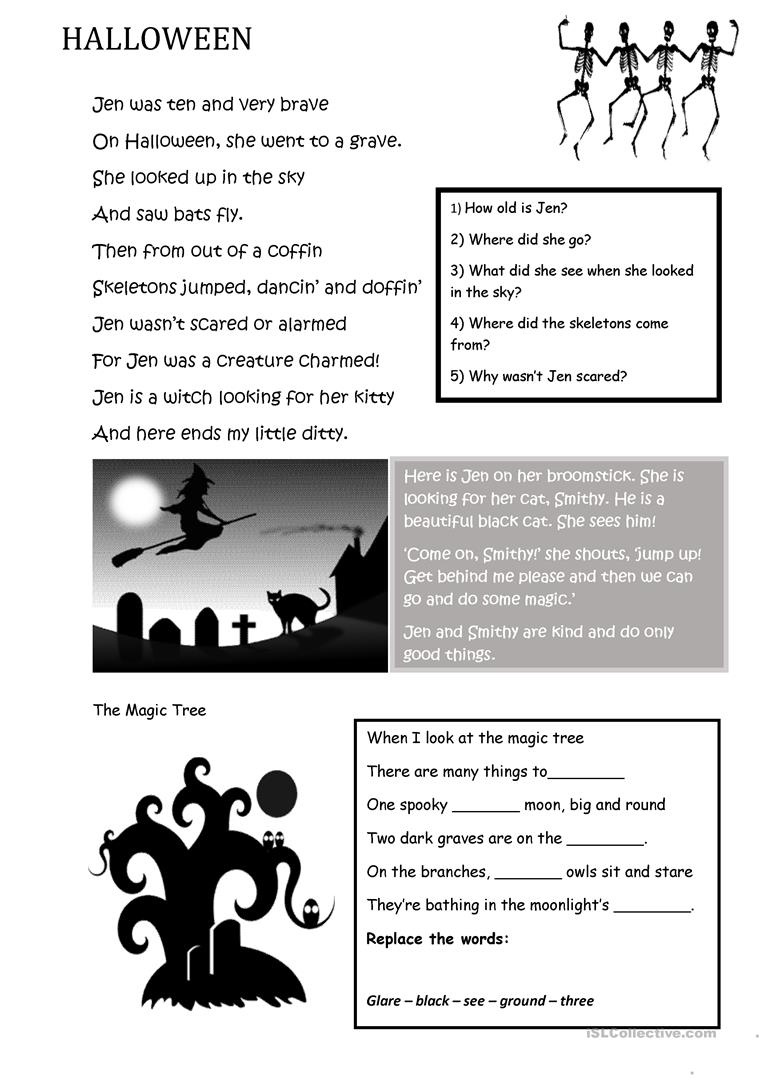 Halloween Poems - English Esl Worksheets For Distance