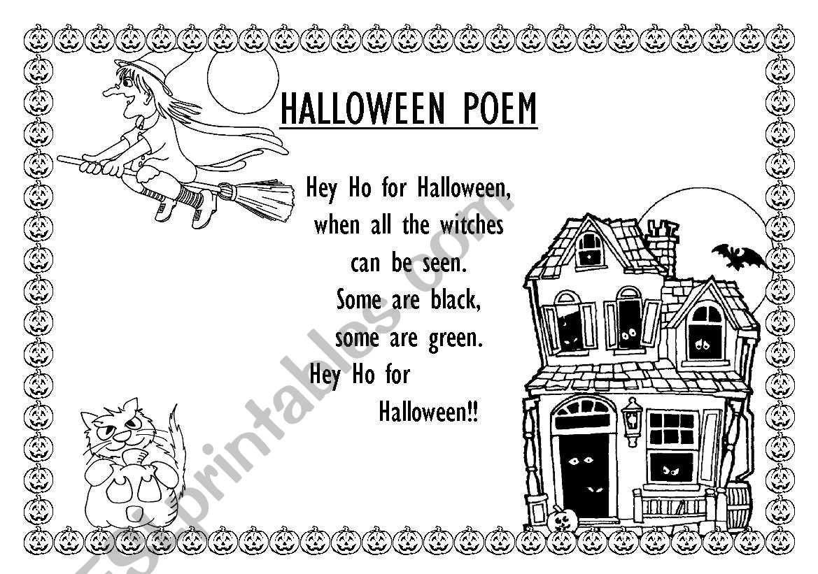 Halloween Poems - Esl Worksheetlministr