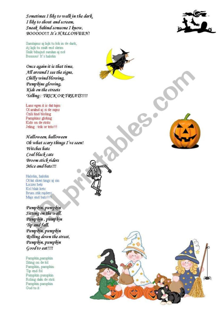 Halloween Poems For Kids   Esl Worksheetmadzia Bartusia