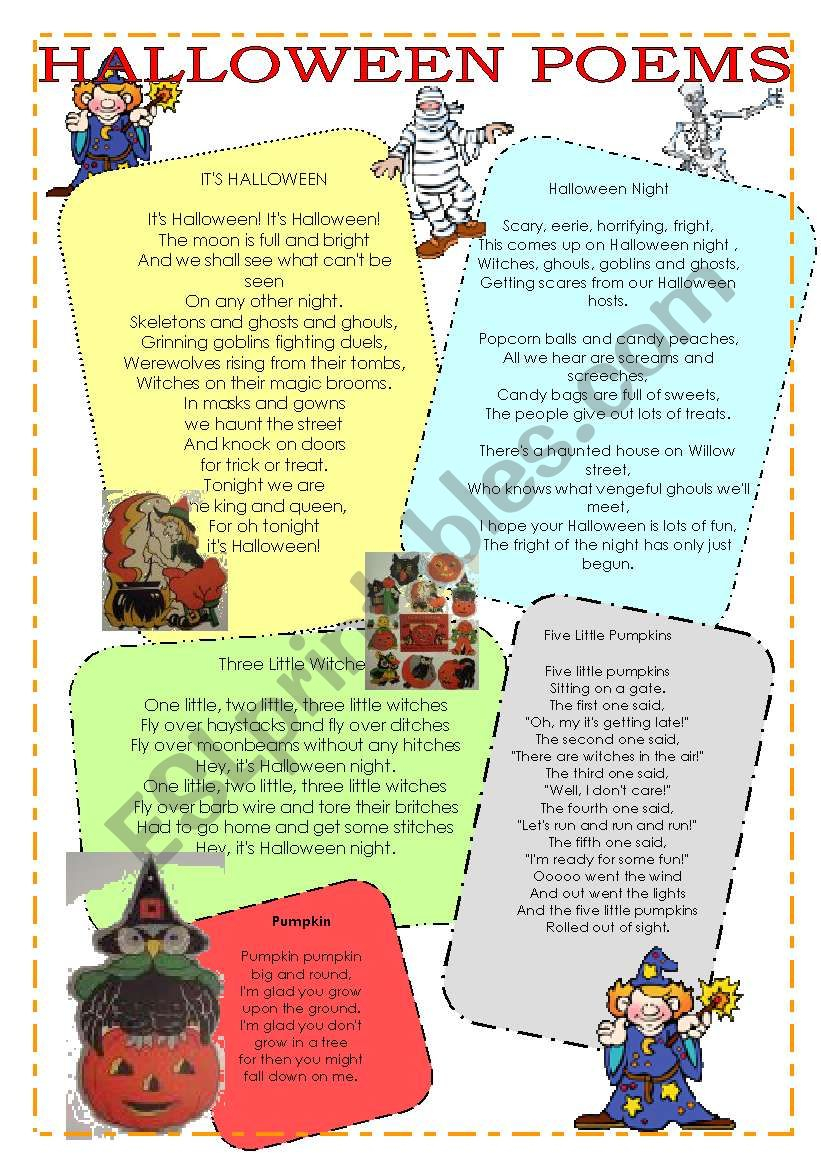 Halloween Poems, Riddles And Tongue Twisters - Esl Worksheet