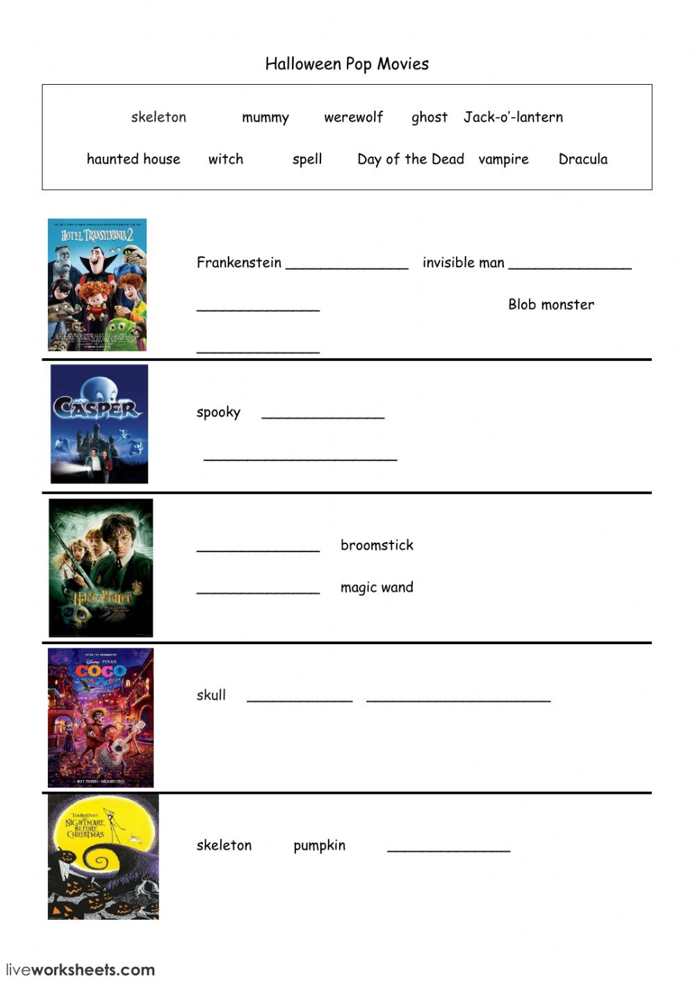 Halloween Pop Movies Worksheet