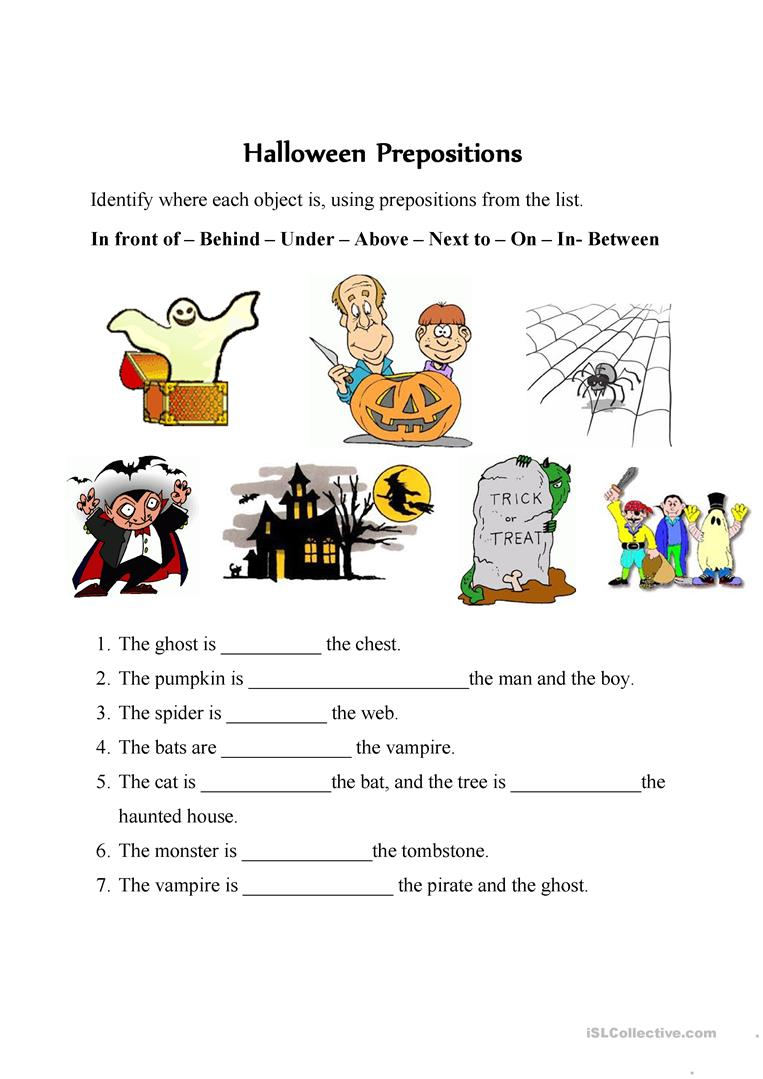 Halloween Prepositions - English Esl Worksheets For Distance