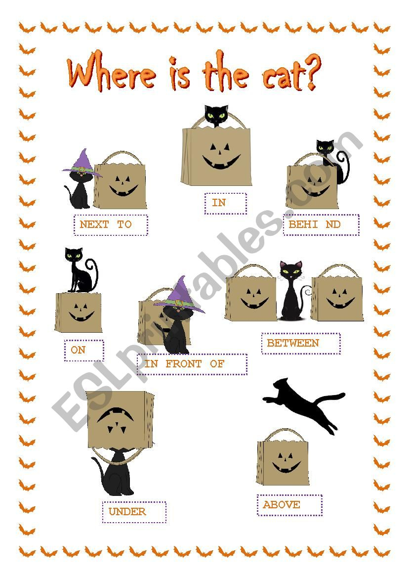 Halloween Prepositions ***where Is The Cat?*** - Esl