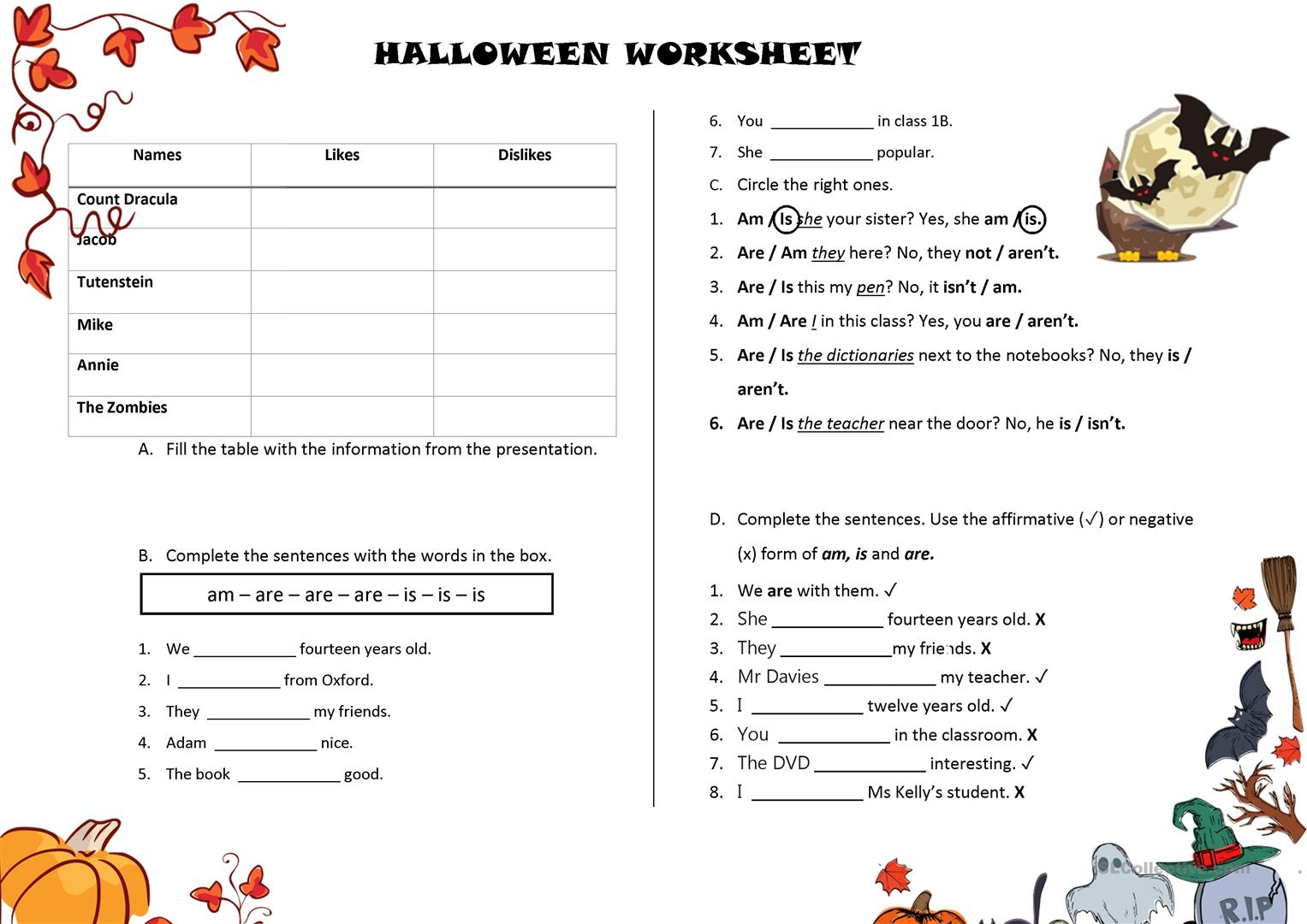 Halloween Presentation Worksheet - English Esl Worksheets