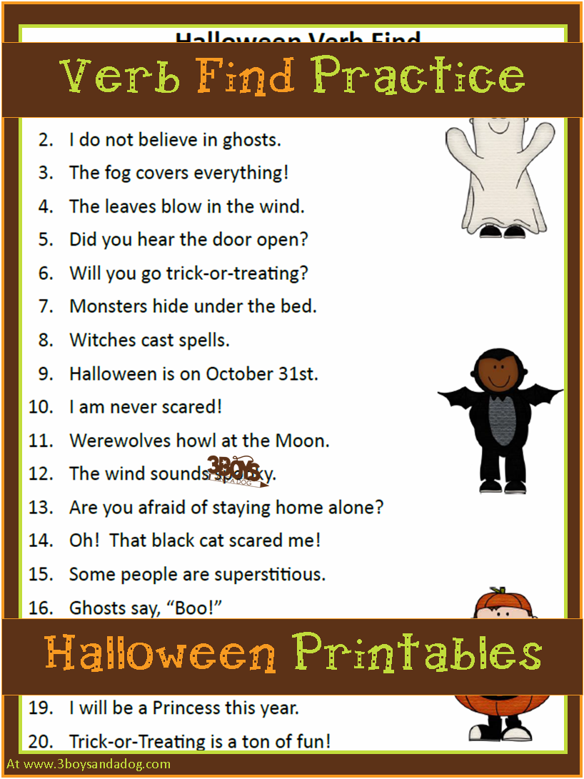 Halloween Printables: Verbs, Parts Of Speech   Halloween