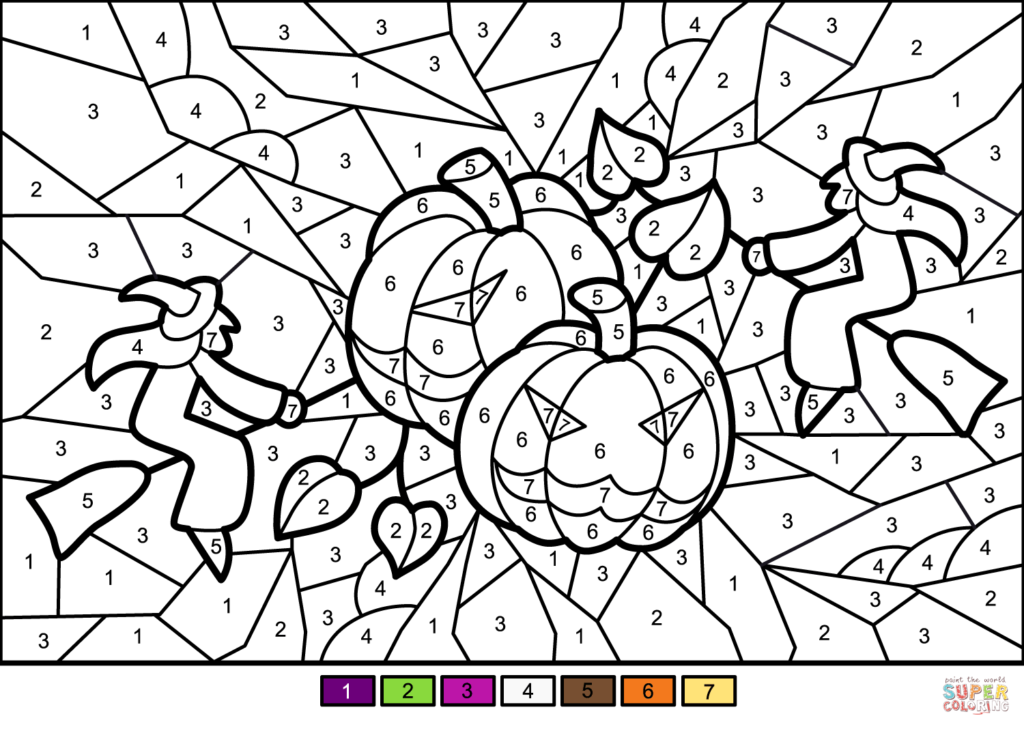 Halloween Pumkins And Witches Colornumber   Free