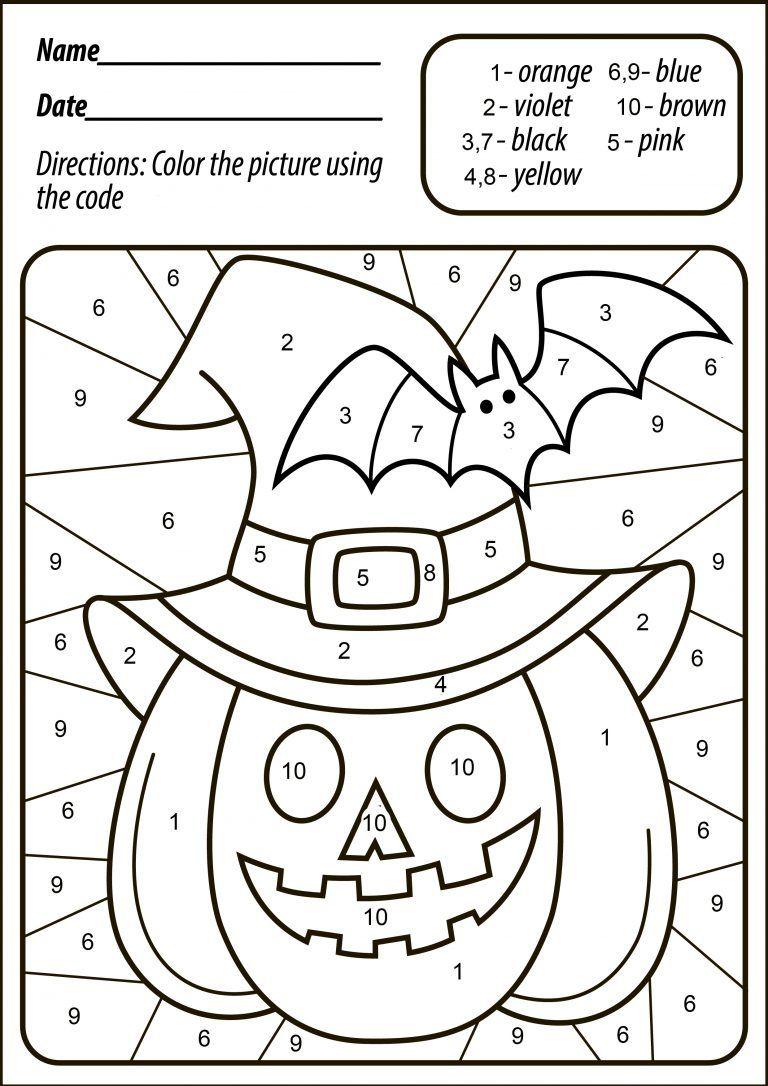 Halloween Pumpkin Color   Halloween Worksheets, Halloween
