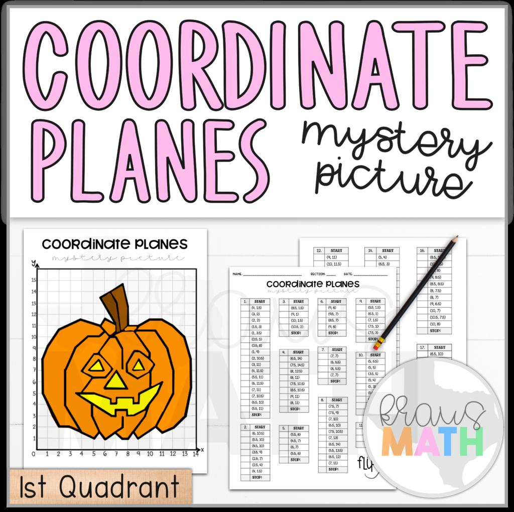 Halloween Pumpkin Coordinate Plane Mystery Picture (1St