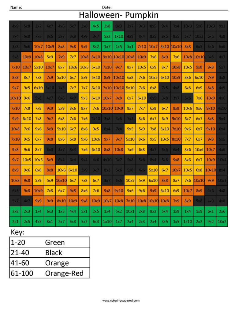 Halloween Pumpkin  Holiday Multiplication   Coloring Squared