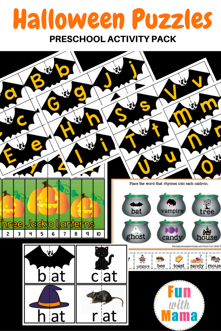 Halloween Puzzles Preschool Activity Pack - Fun With Mama