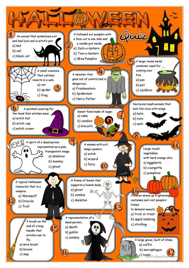 Halloween Quiz   English Esl Worksheets For Distance