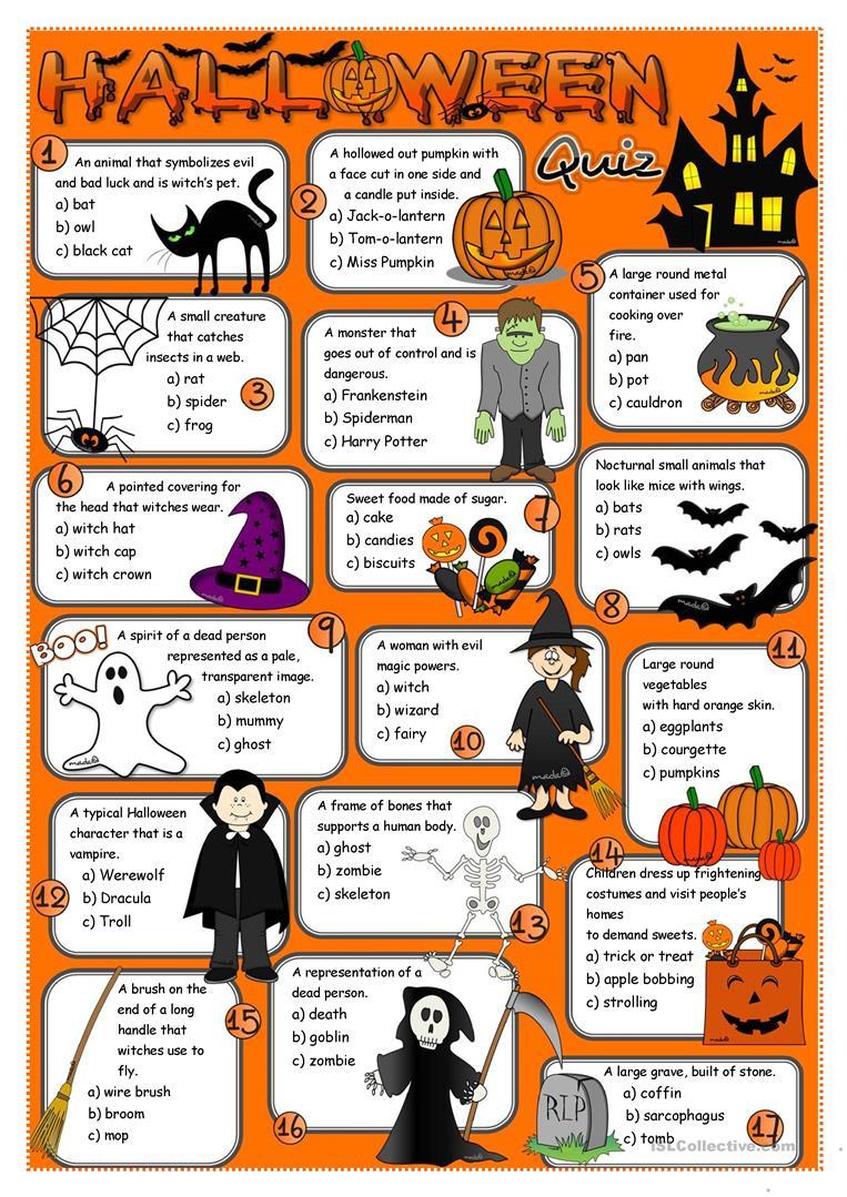 Halloween Quiz - English Esl Worksheets For Distance