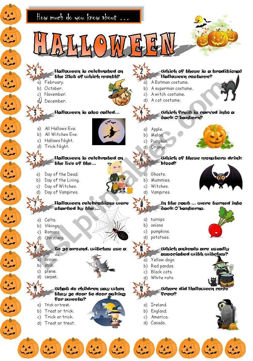 Halloween Quiz - Esl Worksheetjayce