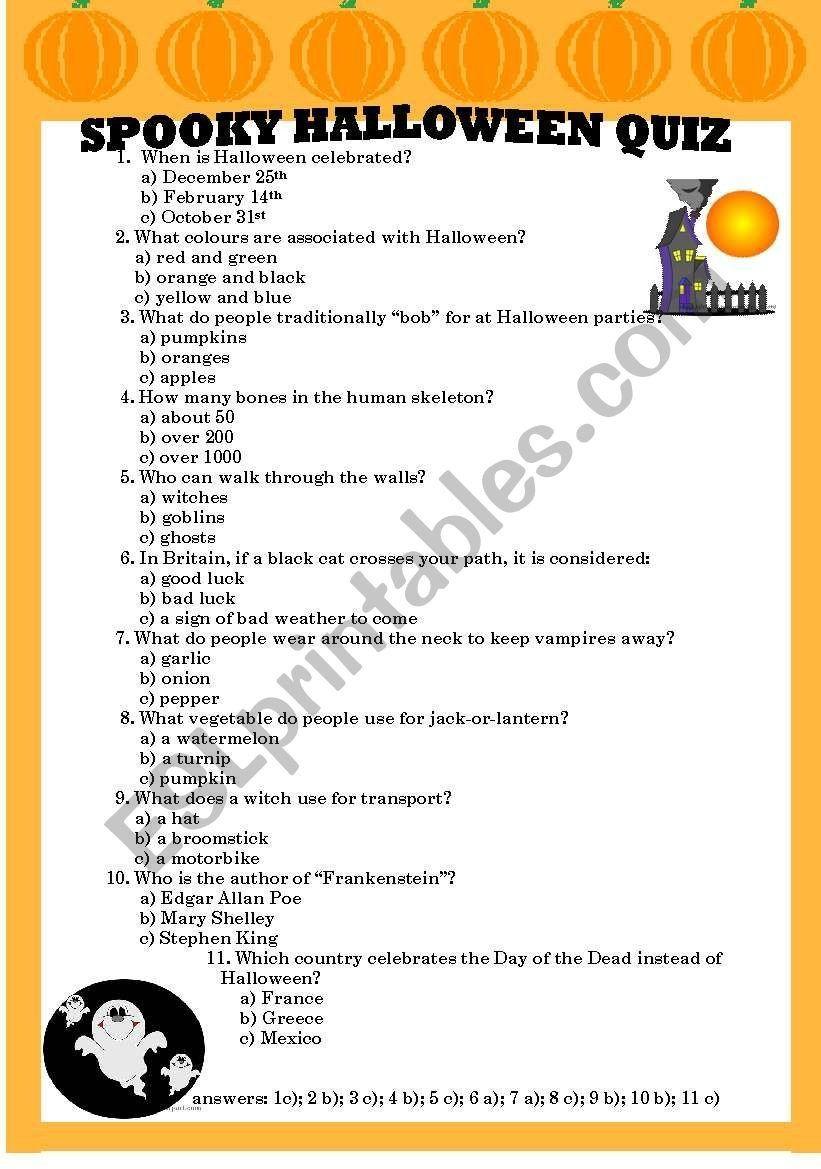 Halloween Quiz Worksheet Spooky Halloween Quiz Esl Worksheet