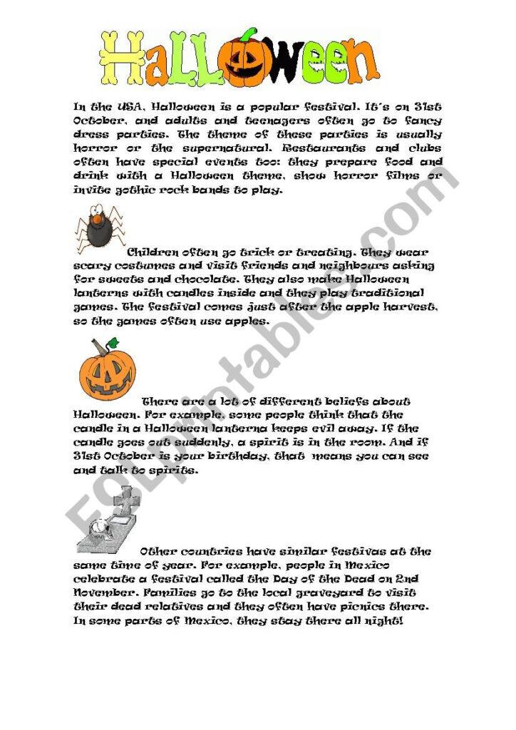 Halloween Reading Activity   Esl Worksheetroael
