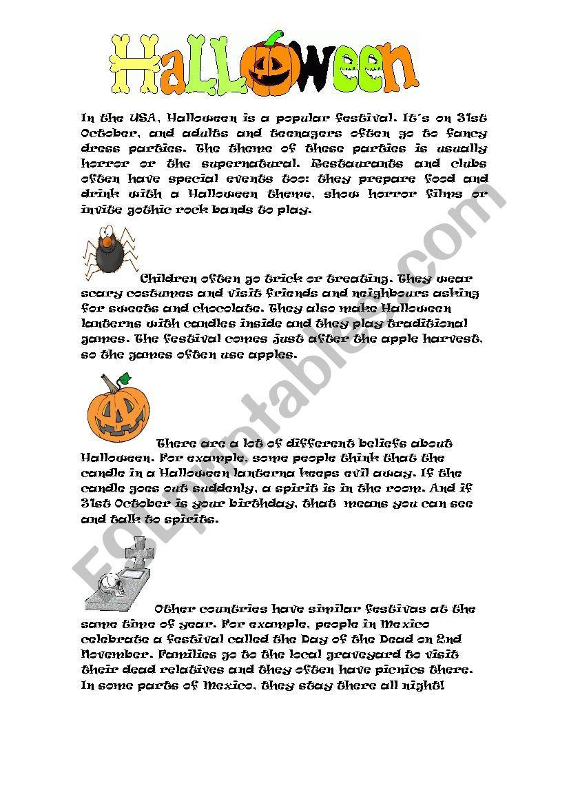 Halloween Reading Activity - Esl Worksheetroael
