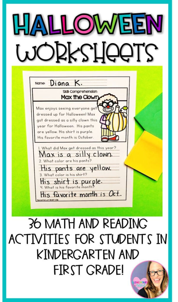 Halloween Reading And Math Worksheets (K 1) | Reading