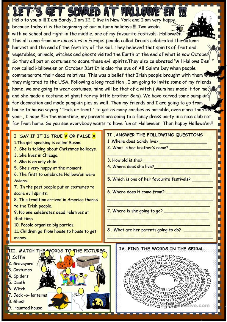 Halloween : Reading - English Esl Worksheets For Distance