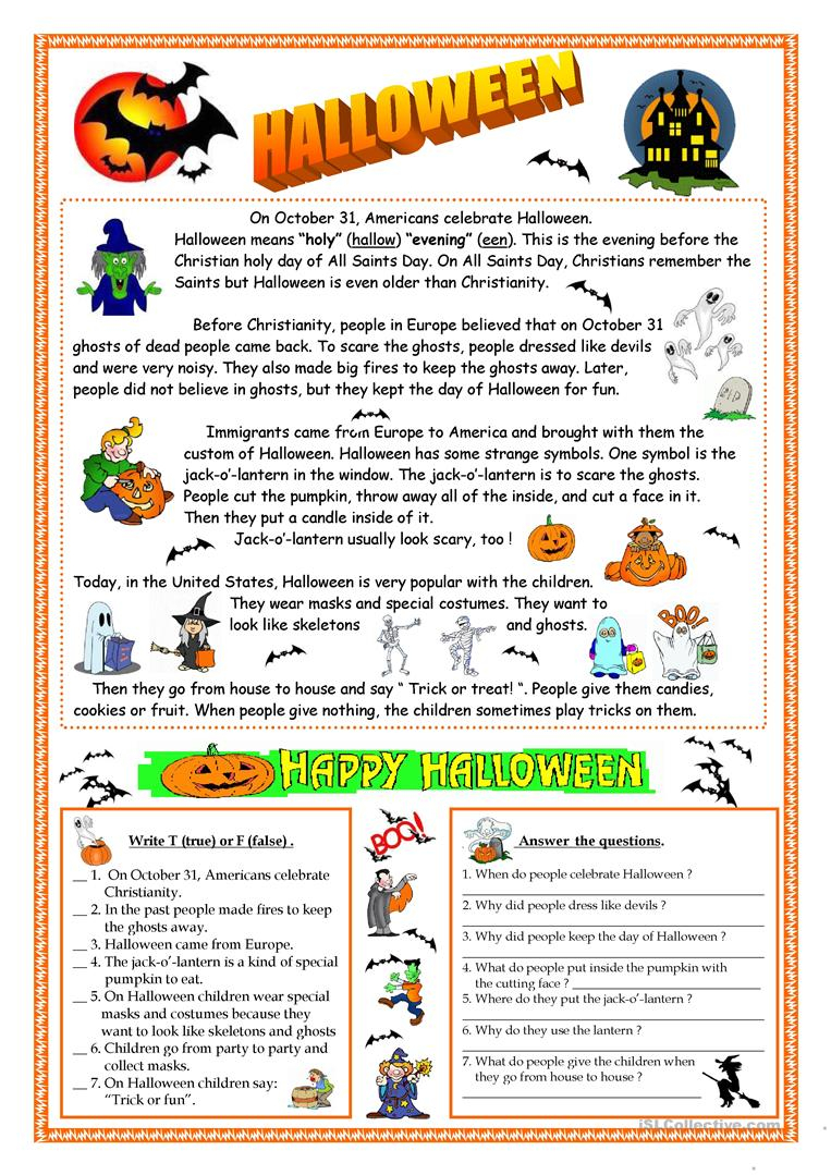 Halloween - Reading - English Esl Worksheets For Distance